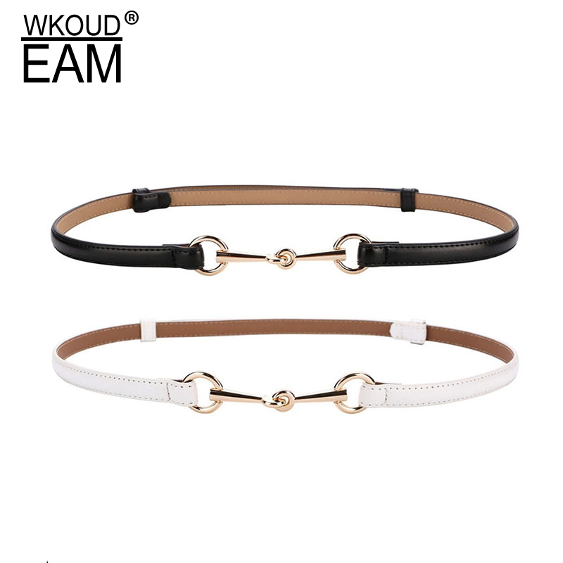 WKOUD EAM 2020 Spring Summer Metal Buckle Thin Strap Pu Leather Belt Temperament Personality Women New Fashion All-match 6A013