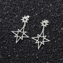 Stainless Steel Silver Color Big Star Earrings For Women New Fashion Accessories Dangle Earring Bijoux