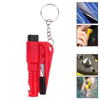 Martillo de seguridad de coche llavero cadena cuchillo salvavidas, cuchilo de cinturón de seguridad, Break Windows Glass, Escape automático de emergencia, herramienta de rescate roto