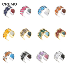 Cremo Simple Ring Stainless Steel Bijoux Adjustable Bague Femme Argent Reversible Interchangeable Leather Rings DIY