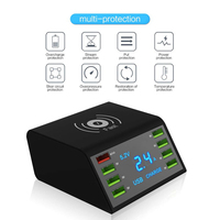 8 Port USB 60W Quick Charger Base Station LED Display Fast Charge 3.0 Desktop 10W Wireless Charger Station USB Charging Station