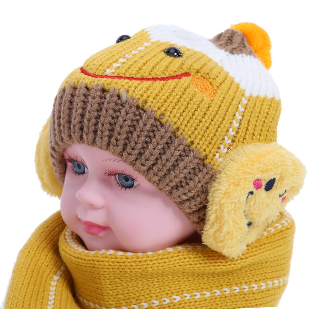 Knit Warm Earmuff Hat Kids Set Portable Practical Durable Pompom Cap Scarves Children Winter Delicate Design Suit