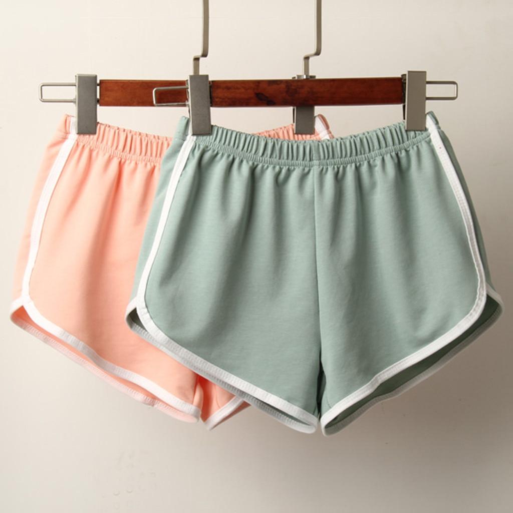 Sports Shorts Women Summer 2019 New Candy Color Fashion Skinny Shorts Casual Lady Elastic Waist Beach Correndo Short Pants 2