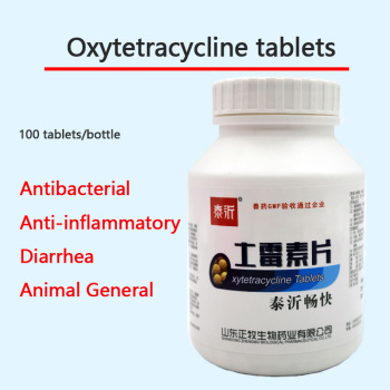 Oxytetracycline tablets 100 tablets for pets, poultry and livestock for dogs, cats, rabbits, pigeons, fish, ducks and turtles недорого