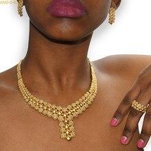 Conjunto de jóias anéis jóias banhado a ouro moda jóias feminino casamento nupcial dubai africano gargantilhas colar brincos