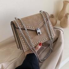 Bolso de hombro de cuero con remaches de cadena para mujer, bandolera de diseñador, a la moda, pequeño, 2021
