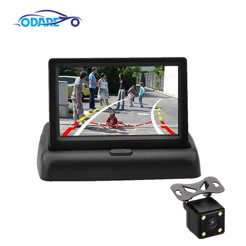 <font><b>4.3</b></font> <font><b>Inch</b></font> TFT LCD Car Rearview <font><b>Monitors</b></font> Foldable Display Reverse Camera Parking System with Night Vision Backup Rearview Camera image
