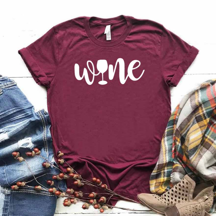 Top Tee Funny t-Shirt Hipster Drop-Ship Wine-Print Girl Cotton ZY-426 Gift Yong Lady