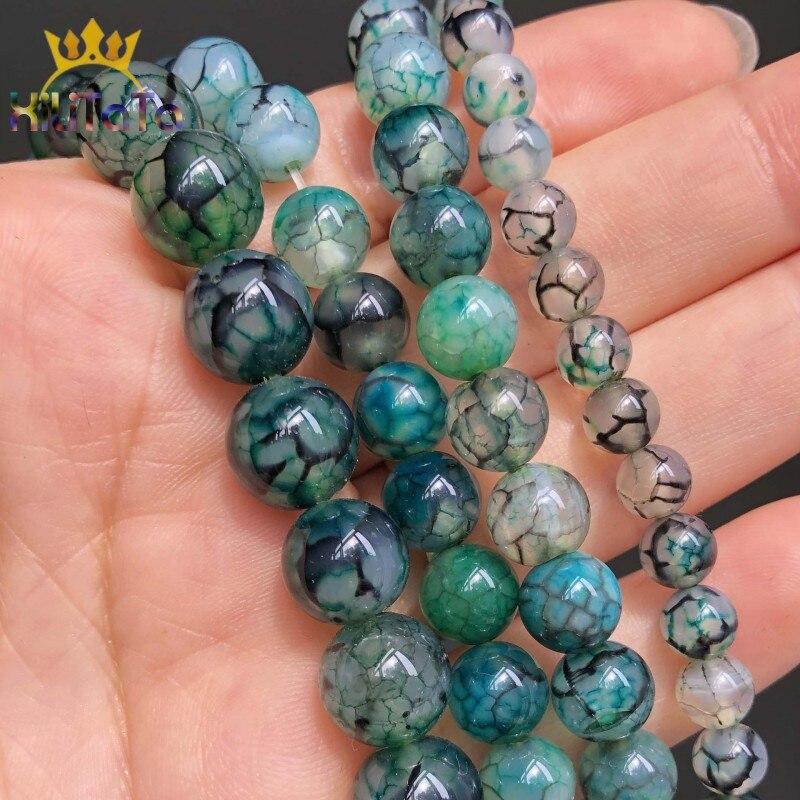 Grünen Drachen Vene Achate Lose Spacer Perlen Für Schmuck Machen DIY 6 8 10mm Glatte Runde Perlen Armband Zubehör 15''Inches