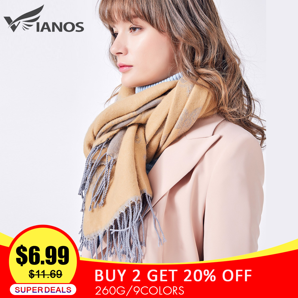 VIANOSI Winter   Scarf   for Women Brand Pashmina Warm   Scarf     Wrap   Tassel Flower Thick Foulard Shawls Hijab