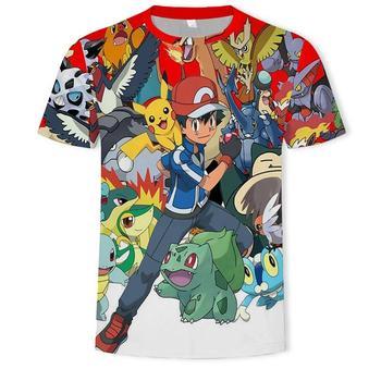 New Fashion Hip Hop Streetwear Harajuku Pokemon 3d digital printing animation Graphic unisex t-shirt Tops Casual gym Tee Shirt 1