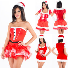 New Year Christmas Costume for Women Red Sexy Dress Velvet Plush Warm Santa Claus Costume Party Show Ladies Uniform Xmas Outfit(China)