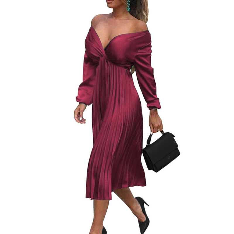Elegant Satin Off Shoulder Pleated Dress Solid 2019 Autumn Ladies Long Sleeve Deep V Neck Midi Dress in Dresses from Women 39 s Clothing