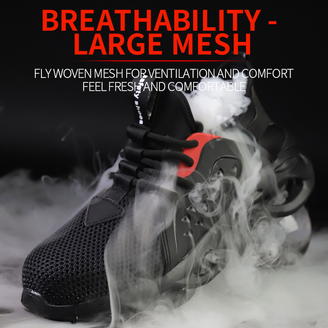 JACKSHIBO  Work Safety Shoes For Men Summer Breathable Boots Working Steel Toe Anti-Smashing Construction Safety Work Sneakers
