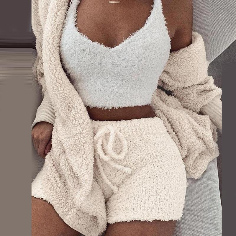 Misswim Sexy Knit Two piece set Autumn short jumpsuit & romper Women Skinny warm playsuit Winter female solid bodysuit overalls