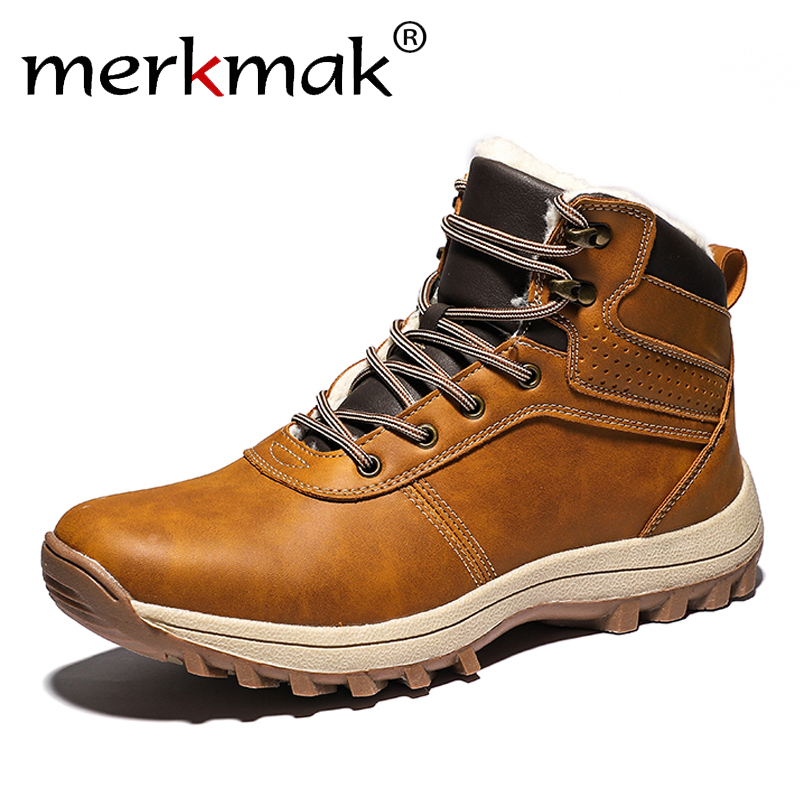 Merkmak Winter Warm Men Boots Genuine Leather Fur Plus Men Snow Boots Handmade Waterproof Working Ankle Boots High Top Men Shoes