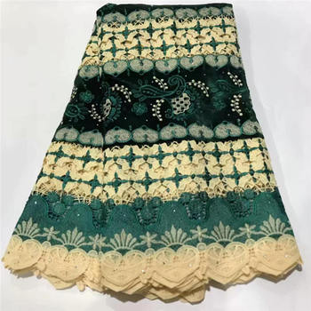 Green African Lace Fabric With Stone 2020 France Mesh Lace Fabric For Wedding Dress Bridal Nigerian Lace Fabrics Y1508