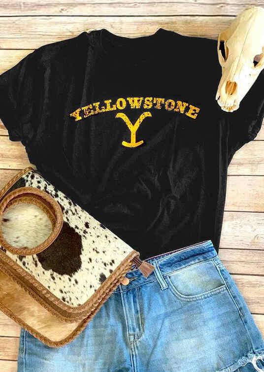 Moda lato nowy kobiety/dziewczyny/panie Yellowstone list druku luźne okrągły dekolt z krótkim rękawem na co dzień luźne T-Shirt topy czarny