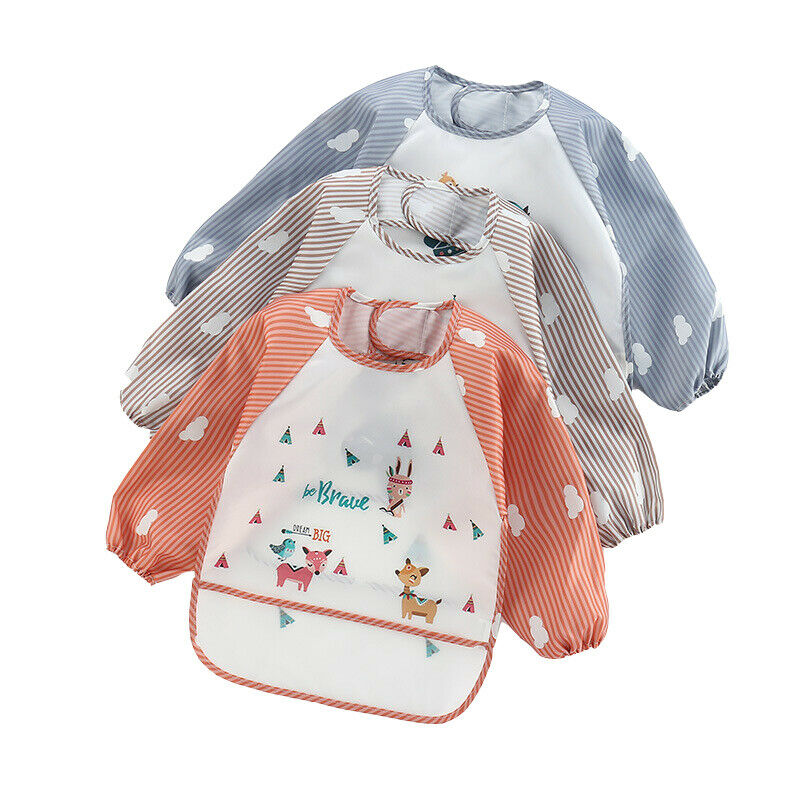 New Baby Kids Toddler Long Sleeve Waterproof Art Smock Feeding Bib Apron Pocket