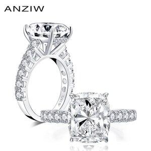 AINUOSHI роскошное 925 пробы Серебряное 10x12 мм большое кольцо для помолвки с имитацией бриллианта свадебные ювелирные кольца 6.0ct