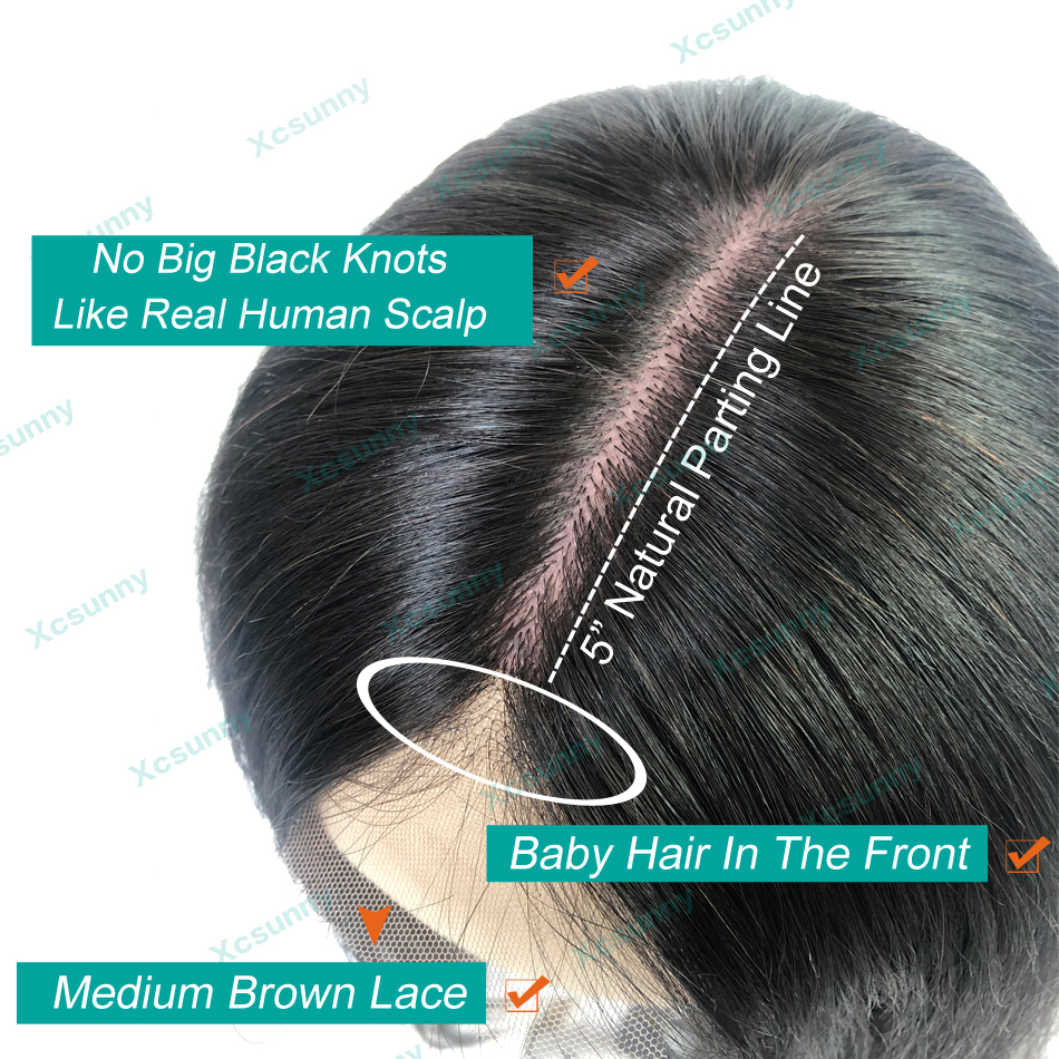 5x5 Scalp Top Bob Lace Front Wigs Human Hair Short 13x4 Straight Frontal Wig With Baby Hair Pre Plucked Remy Brazilian xcsunny