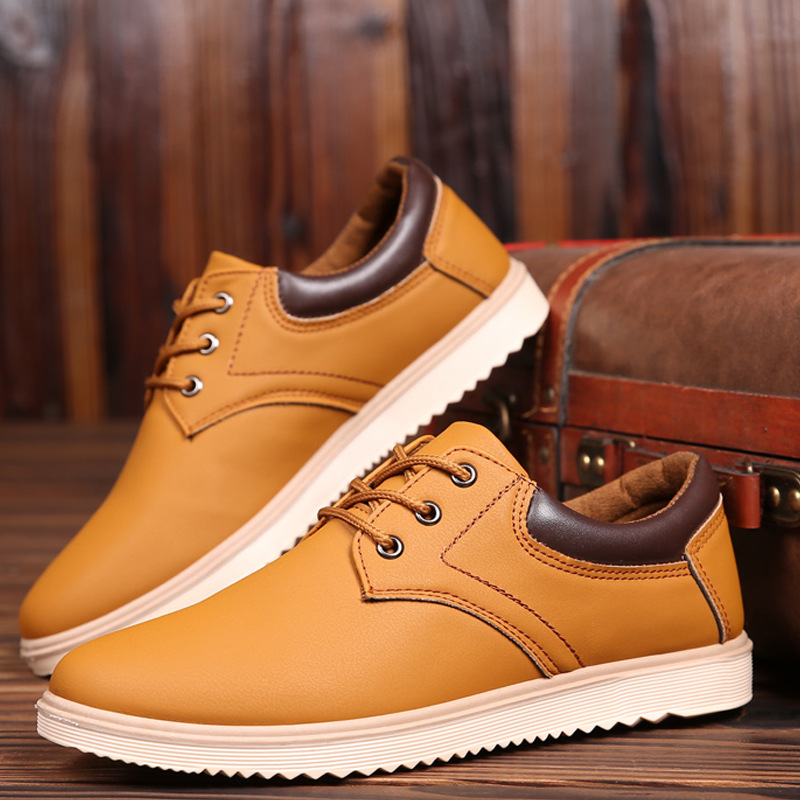 Spring and summer men's non-slip work shoes waterproof casual leather shoes Korean youth men's shoes wild tide shoes chef shoes