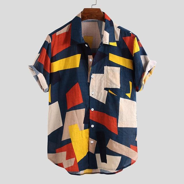 Summer Mens Shirts Cotton Linen Blouse Shirt Short-sleeve Button-down Print Loose Hawaiian Shirt Blouse Beach Undershirt Soft 6