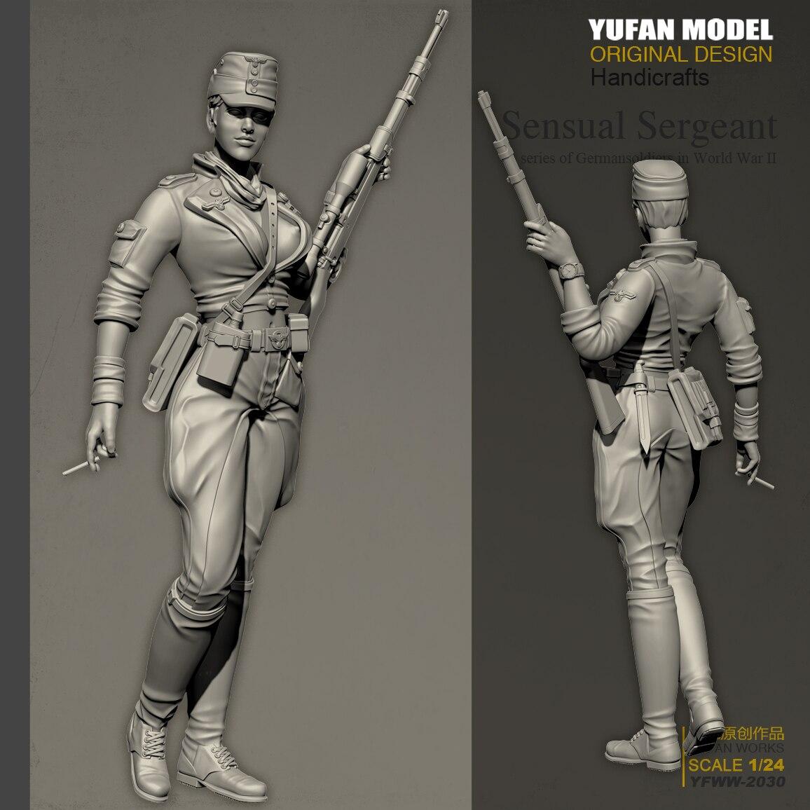 YUFAN Model 1/24 Resin Kits  Sexy Female Gunner Resin Soldier Self-assembled (75mm) YFWW-2030