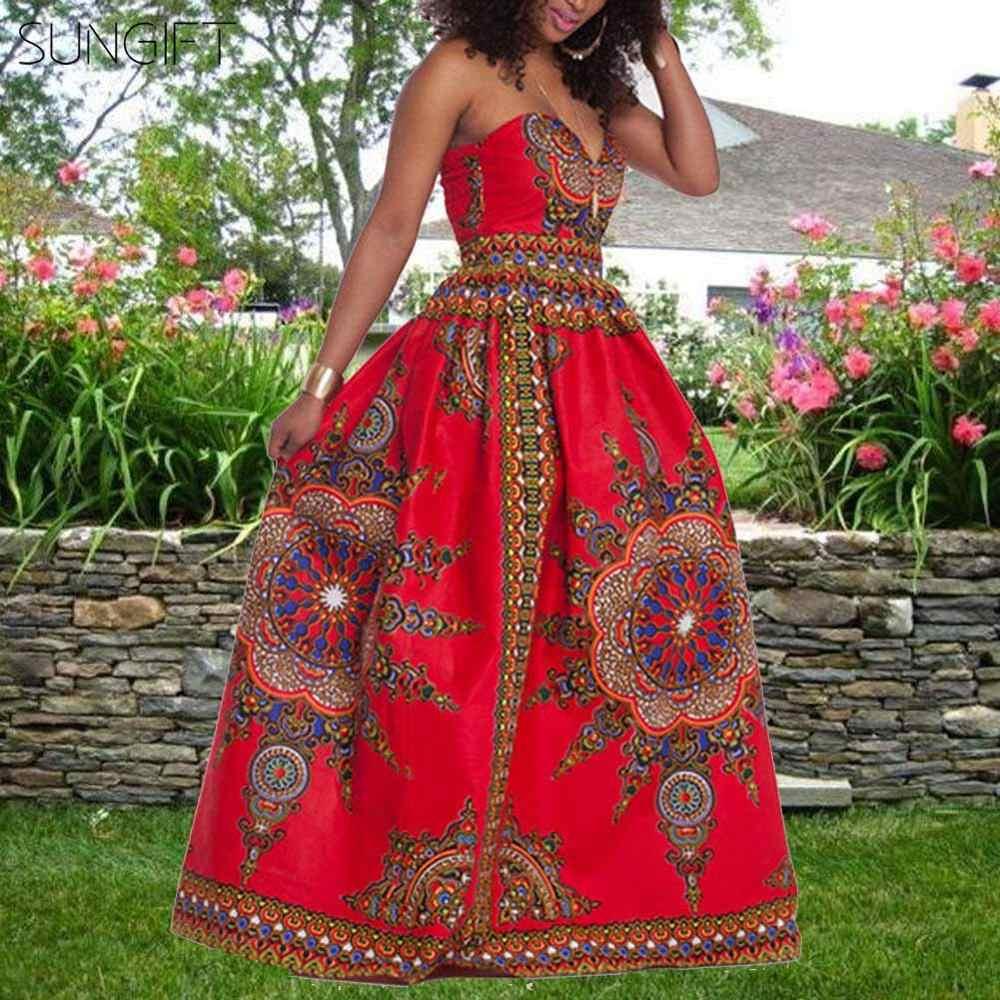 Sungift Dashiki Châu Phi Quần Áo Mùa Hè 2019 Phụ Nữ Mới Quấn Ngực Đầm Thun Lưng Và Eo Thanh Lịch Đầm Dự Tiệc Dành Cho Nữ