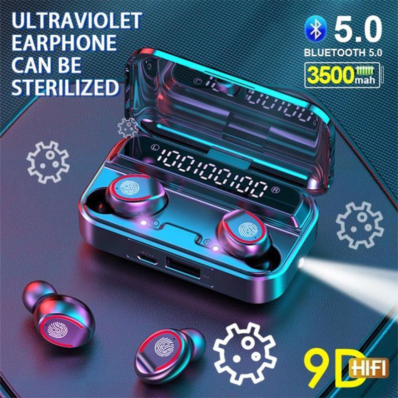 2020 F9-3 TWS Bluetooth 5,0 наушники, цифровые беспроводные наушники с УФ стерилизацией, Hi-Fi музыкальная стереогарнитура с фонариком