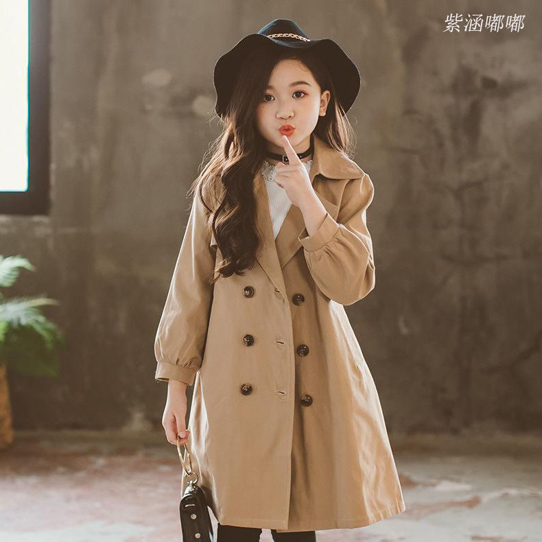 INS hot   trench   Girls 4-13 years old kids Girls windbreaker spring and autumn Solid color belt double-breasted long   trench   coat