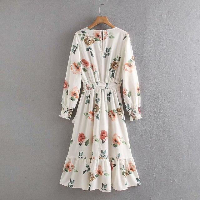 2020 Spring Summer New Grand Prix Flowers Print zaraing women Dress vadiming sheining female Dress vintage plus size XDN9236 3