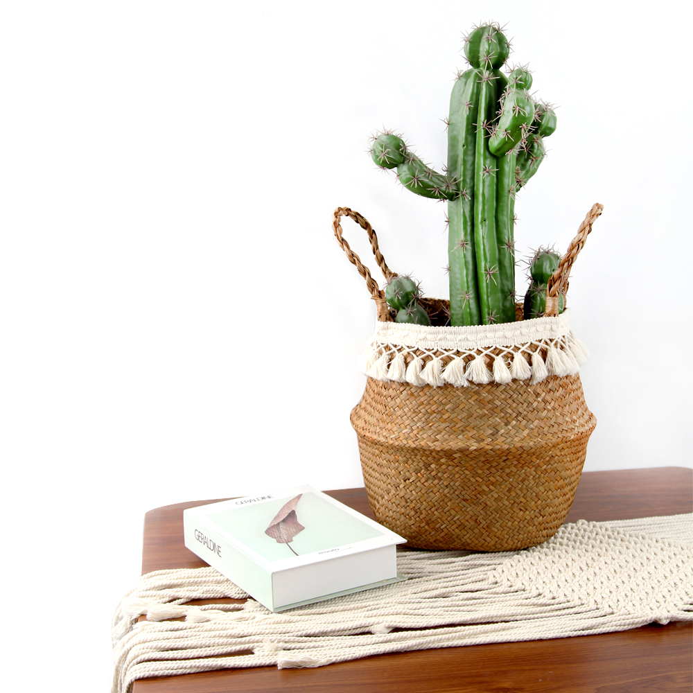 Seagrass Woven Basket Wicker Basket Hanging Storage Baskets Garden Potted Foldable Pot With Handle Laundry Basket Organizer