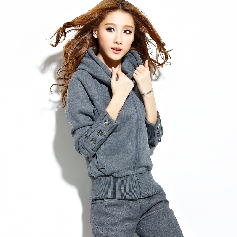 Sports Suit Female Spring Autumn New Korean Loose Large Size Plus Thin Velvet Hooded Sweater Casual Wear Two-piece Women's