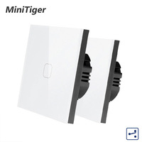 Minitiger EU Standard 1/2 Gang 2 Way Control Wall Light Touch Switch,Crystal Glass Panel,cross/through switches,2pcs/pack