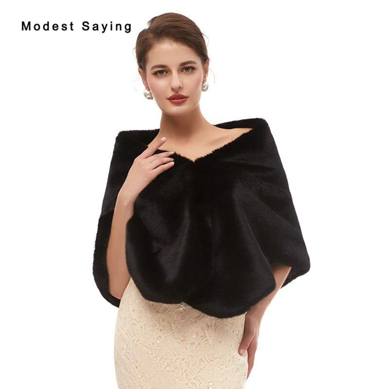Elegant Black Faux Fur Wedding Shrugs 2020 New Fashion Bridal Shawls Women Party Boleros Stoles Warm Wraps Wedding Accessories