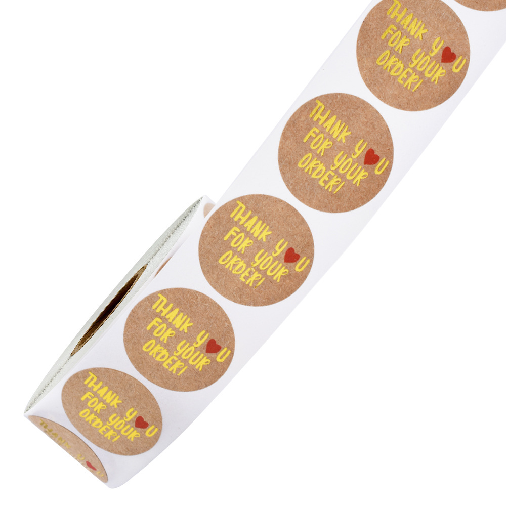 500pcs/roll Round Gold Foil Thank You For Your Order Stickers 1 inch Wedding Pretty Gift Cards Envelope Sealing Label Stickers 5