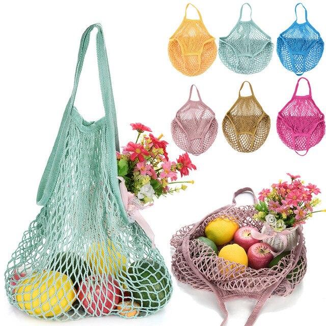 Mesh Net Bag String Fruit Storage reusable shop bags eco Foldable Portable Beach Bag Kid Basket Storage Bag Dropshipping 6