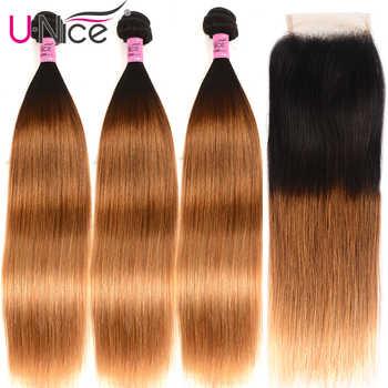 Unice Hair Human Hair 3 Bundles With Closure Free Part T1B/4/27 Ombre Bundles With Closure 8-26