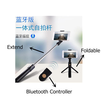 100pcs 3 in 1 Wireless Bluetooth Selfie Stick for iphone/Android/Huawei Foldable Handheld Shutter Remote Extendable Mini Tripod