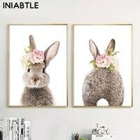 Póster de lona con dibujo de conejo y cola de conejito para decoración de la habitación, imagen artística de guardería, flor, Animal, pintura nórdica para niños y niñas