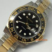 40MM Bliger Golden Plated steel Case Black Dial GMT Function Ceramic Bezel Sapphire Glass Automatic Movement Men's Wrist Watch(China)