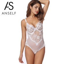 Anself Sexy Lace Bodysuit Women Bodycon Jumpsuit Short 2019