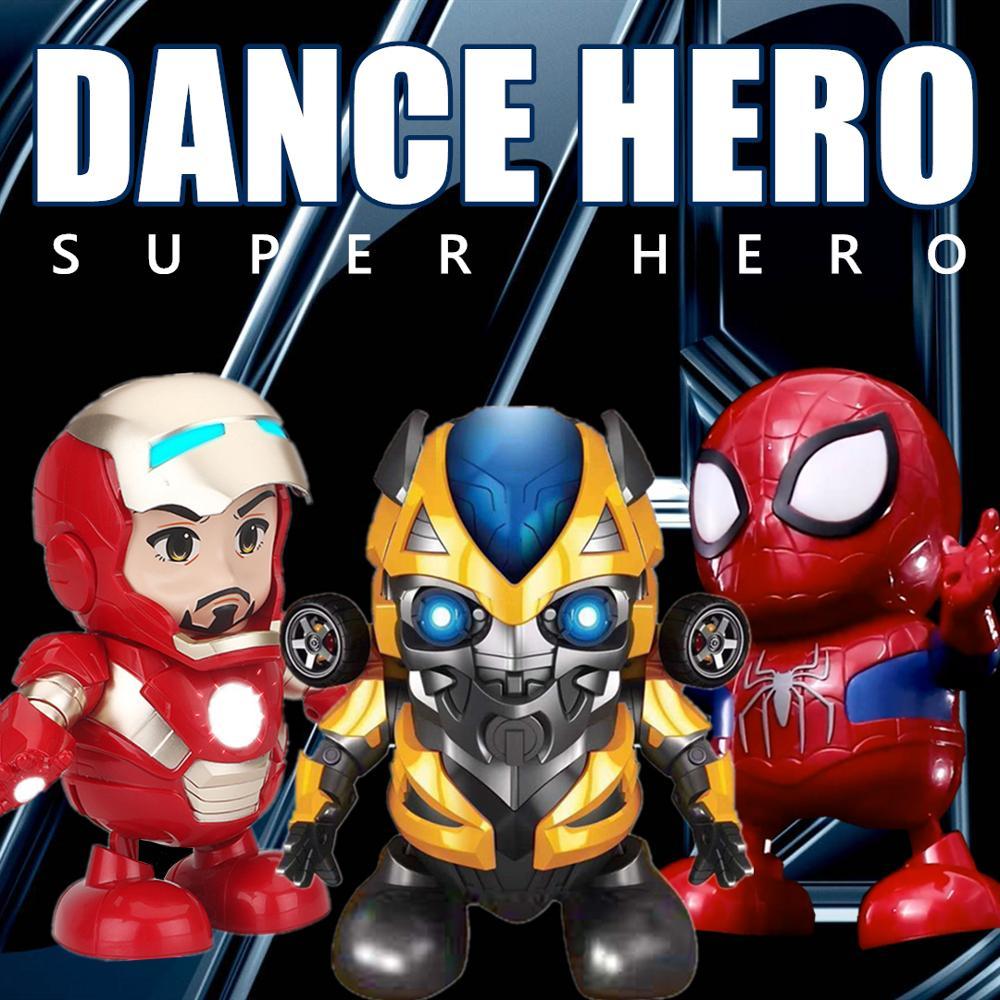 Dance Iron Man Avengers Action Figure Toy  LED Flashlight Flashlight With Light Sound Music Robot Iron Man Hero Electronic Toy
