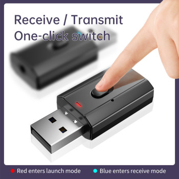 5.0 Bluetooth Adapter USB Wireless Bluetooth Transmitter Receiver Music Audio for PC TV Car Hands-free 3.5mm AUX Adaptador image