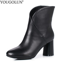 Cow Leather Ankle Boots Women Autumn Winter Ladies Shoes Fashion High Heels A346 Woman Black Beige White Yellow Round Toe Boots vankaring 2018 women ankle boots genuine leather high heels pointed toe black beige white shoes woman dress party riding boots