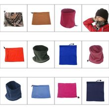 Men Women Winter Double-Layer Polar Fleece Versatile Neck Gaiter Warmer Snood Scarf Face Mask Ski Beanie Hat with Drawstring