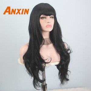 Image 4 - Anxin ארוך שחור פאות לנשים שחורות גל שערות עם פוני סינטטי טבעי צבע שחור בלונד צהוב קוספליי מפלגת פאה