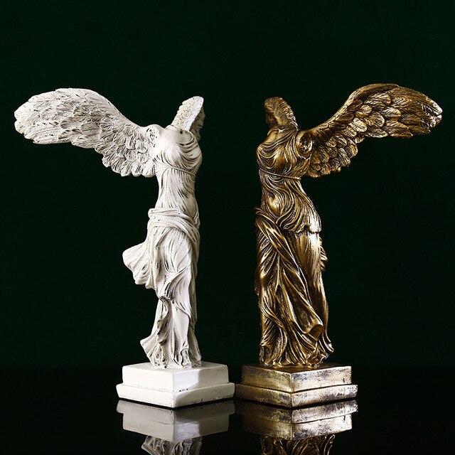 Фото статуя богини победы из смолы скульптурные фигурки украшение