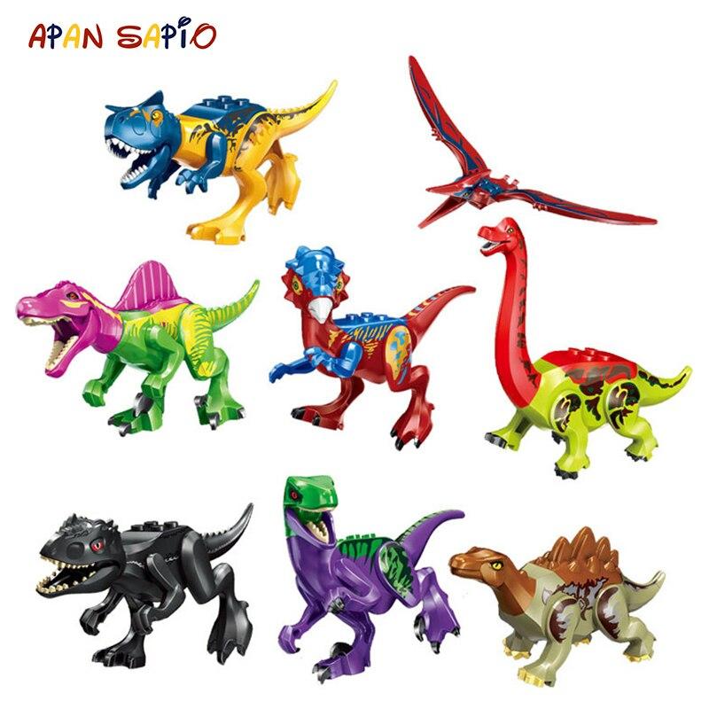 Конструктор Парк Юрского периода, разноцветные строительные блоки, T-Rex Triceratops, сборные фигурки, игрушки